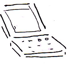 A simplified drawing of an old laptop computer.