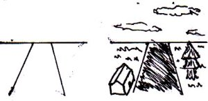 A road (with and without details). Notice how the drawing on the left only includes three lines.
