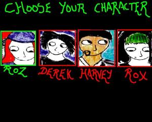 "The character selection screen [Only Roz was playable in the short ""Demo"" I made]"
