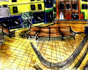 """Aberystwyth - Benches"" By C. A. Brown"
