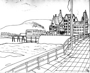 "The lineart for ""Aberystwyth- Gloom Descends""."
