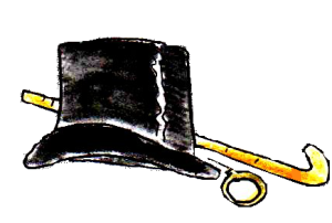 Hat, Cane And Monacle Clipart