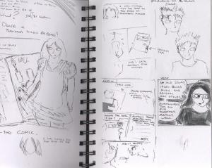 "The (slightly censored) plans for my unfinished and abandoned ""Ephemera"" comic."