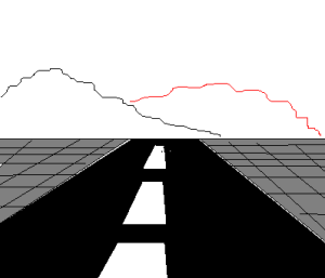 I've made the second line red, so you can tell them apart. But, yes, you can draw mountains with just two lines.