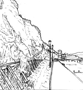 """Sandown Beach Lineart"" By C. A. Brown"