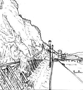 """""""Sandown Beach Lineart"""" By C. A. Brown"""