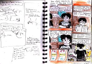 "This is both the second page and the plans for the second page of my old ""Anachrony II"" comic from last year."