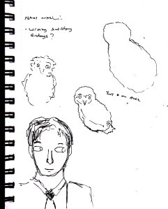 "These are some of the preliminary sketches for my ""Ed And The Owls"" painting from July."