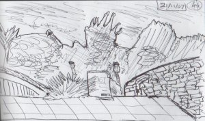 """""""Arts Centre Steps Sketch"""" Drawn by C. A. Brown in November 2007"""