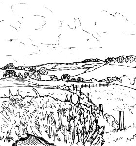 """Dorset - Patchwork Landscape (Lineart)"" By C. A. Brown"
