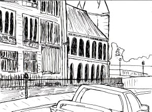 """Aberystwyth - By The Old College (Lineart)"" By C. A. Brown"