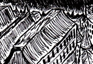 (This is a random gothic cityscape. Seriously, I can almost draw these in my sleep. And, if I remember rightly, I was quite tired when I drew this).
