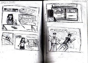 This is probably the least badly-drawn page of the prequel comic I made in summer 2008.