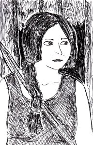 "This was a badly-drawn picture of Katniss Everdeen that I drew when I was watching the second ""Hunger Games"" movie on DVD a few weeks ago."