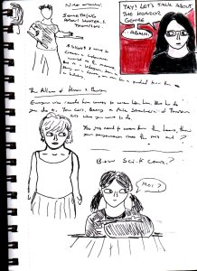 """This is a random page from my sketchbook, that also features Suzy from my old """"CRIT"""" comic series in the bottom right corner of the page."""