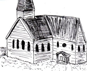 """This is kind of a composite of several photos I saw when I typed """"American church building"""" into Google images"""
