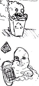 """These were a couple of random monsters I drew when I was trying to think of an idea for a horror comic. The top monster was originally going to be in a comic called """"It Came From The Recycling Bin!"""", but I decided to make a sci-fi comic (called """"Conspiracy 1983"""") instead...."""