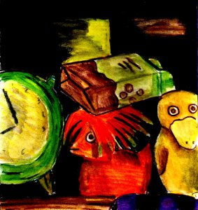 This was a still life painting of some of the random old stuff on one of my desk shelves. It was originally going to be featured in one of my daily art posts, but I wasn't really satisfied with it and ended up making another painting instead.