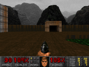 """As you can see in this screenshot from """"Doom"""", the mountains are actually nothing more than a static photograph, rather than an explorable 3D area."""