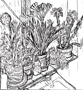 """Bathroom Plants (Lineart)"" By C. A. Brown"