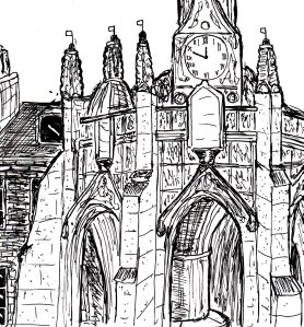 """Chichester Cross (Lineart)"" By C. A. Brown"