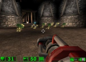 "As any retro FPS gamer will tell you, suddenly finding a large cache of health and ammo is usually something of a bad omen. Expect to find a LOT of these caches in ""Serious Sam: The First Encounter""."
