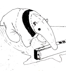 """""""Anteater And Harmonica (Lineart)"""" By C. A. Brown"""