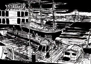 """""""Gunwharf Marina"""" By C. A. Brown"""
