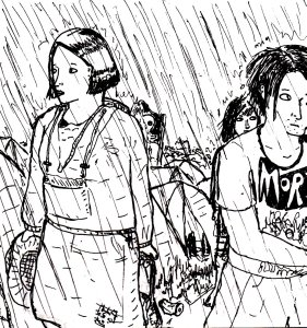 """Festival Rain (Lineart)"" By C. A. Brown"