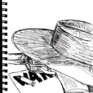 This is a larger version of the wild west sketch from my last sketchbook post. Bascially, I tried to turn THAT little sketch into a larger painting, but it didn't turn out very well. And this is what it looked like.