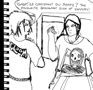 This was going to be a random gothic cartoon, but I ended up abandoning it both because I was in an unenthusiastic mood at the time and because I was worried that I'd got the French grammar wrong.
