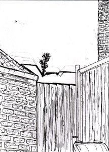 """View Over The Gate (Lineart)"" By C. A. Brown"