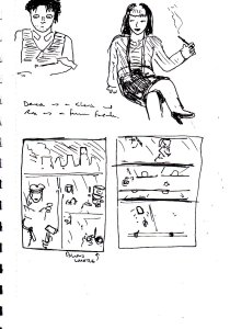 """A while after I'd finished making my """"Diabolical Sigil"""" comic (posted here in late July/early August), I'd planned to make another comic featuring the same characters. This comic would have been in the style of a 1920s/30s """"Wordless Novel"""". As for the characters, Roz  would be a communist agitator, Harvey would be a Gendarme, Derek would be an office clerk and Rox would be a film noir-style """"femme fatale"""" character."""