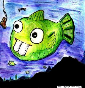 "This was a (miserably failed) attempt at making a fan art paitning of the ""Dopefish"" character from an old computer game called ""Commander Keen IV"". Since the Dopefish turns up as an easter egg in lots of other games, I wanted to see if I could paint him in my own art style. Unfortunately, I can't..."