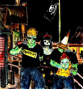 """Drunk Punk Zombies On Aberystwyth Coast"" By C. A. Brown"