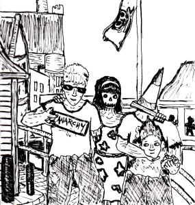 """Drunk Punk Zombies On Aberystwyth Coast (Lineart)"" By C. A. Brown"