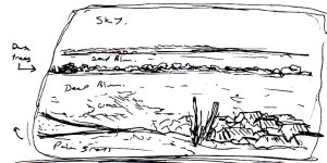 """""""Portsdown Hill On A Summer Day (Initial Memory Sketch)"""" By C. A. Brown"""