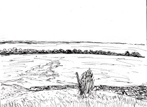 """Portsdown Hill On A Summer Day (Lineart)"" By C. A. Brown"