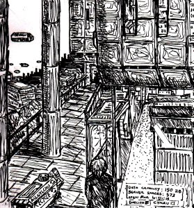 """""""Aberystwyth - Cyberpunk Library (Lineart)"""" By C. A. Brown"""