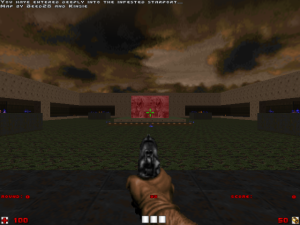 "This level also includes a cool remixed version of the ""Doom E1M1"" theme tune :)"