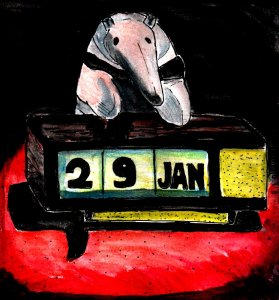 """Baby Anteater And Retro Calendar"" By C. A. Brown"