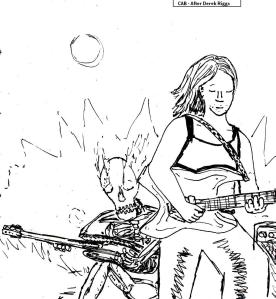 "[As I mentioned a couple of days ago, this was a painting that I ended up leaving out of the series. Here's the lineart for it.] ---------------- ""Heavy Metal Awesomeness (Lineart)"" By C. A. Brown (After Derek Riggs)"