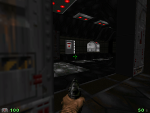 "On the other hand, there's a horizontally-opening door here. Yes, you heard me correctly. I don't know how they did it, but there's a horizontally-opening door in this ""Doom"" level!"