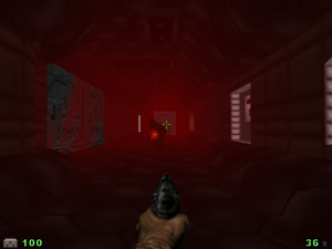 "Thankfully, you don't have to wait TOO long for the monsters to appear, but this is supposed to be a ""Doom 1"" level, NOT a ""Doom 3"" level..."