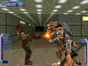 """OMG! It's a battle between an assault trooper from """"Duke Nukem 3D"""" and a grunt from """"Quake""""!. Words cannot express how cool this is!"""