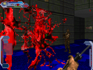 Not only that, there's also a ludicrous amount of blood spatter when you are shot by one of the monsters.