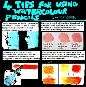 """[CLICK FOR LARGER IMAGE] """"Four Tips For Using Watercolour Pencils"""" By C. A. Brown"""