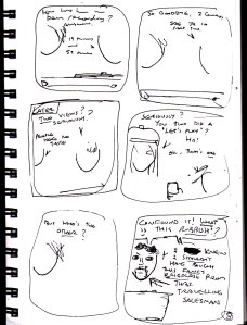"This is my original plan for the final page of ""The 'Let's Play'"". This is probably a more typical comic plan for me. The writing is a strange mixture of cursive and block capitals (remember, always use block capitals in your final comic pages) and the art is nothing more than a few mere scribbles that indicate which characters are speaking."