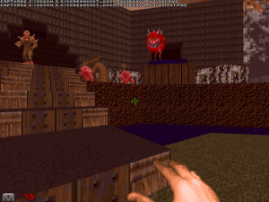 "Yes, this is an entire level that is based on running away. In a FPS game. It's good to see that ""Doom II"" is still more innovative than most modern FPS games :)"