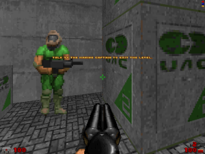 "Ah, yes, good old Captain Obvious. I didn't expect to see him in a ""Doom"" game though."